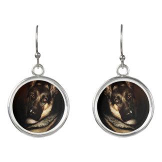 German Shepherd Dog Portrait Earrings