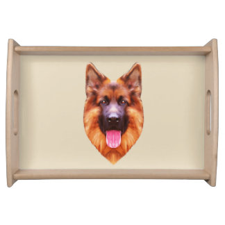 German Shepherd Dog Portrait Serving Tray