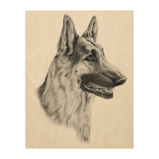 German Shepherd Dog Portrait Wood Prints