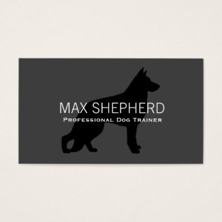 German Shepherd Dog Silhouette Black on Grey Business Card