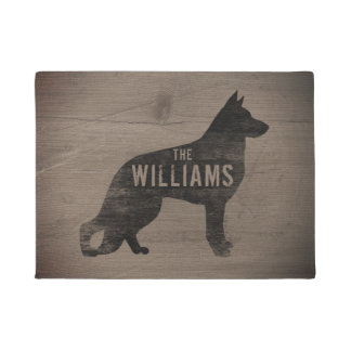German Shepherd Dog Silhouette Custom Doormat