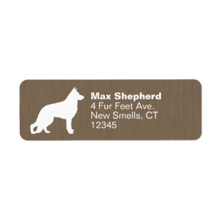 German Shepherd Dog Silhouette Return Address Label
