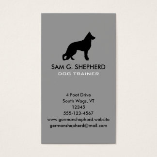 German Shepherd Dog Silhouette Vertical Business Card