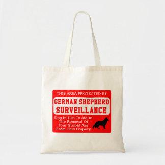 german shepherd dog surveillance tote bag