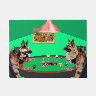 German Shepherd dogs Playing Poker Doormat