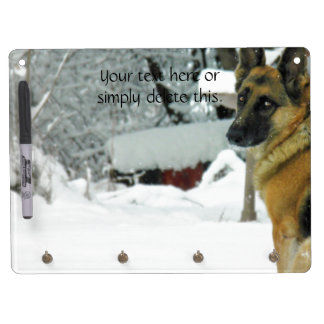 German Shepherd Dry Erase Board With Key Ring Holder