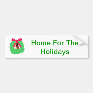 German Shepherd Holiday Christmas Wreath Bumper Sticker