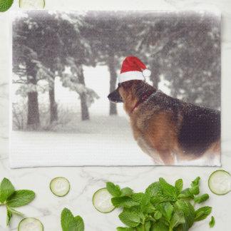 German Shepherd Holiday Tea Towel