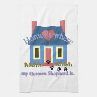 German Shepherd Home Is Tea Towel
