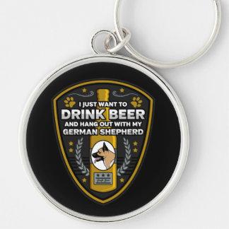 German Shepherd I Just Want To Drink Beer Key Ring