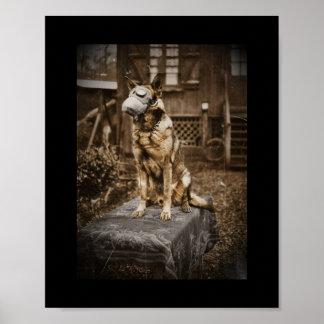 German Shepherd in Gas Mask Poster