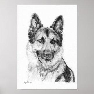 German Shepherd in Graphite Print