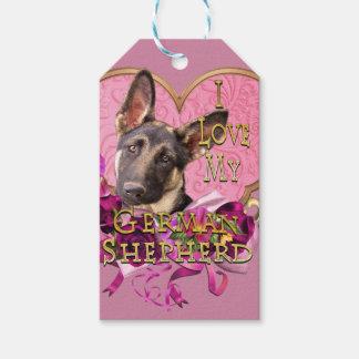 German Shepherd in Pink Heart Gift Tags