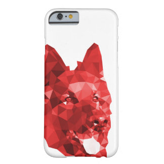 German Shepherd Low Poly Art in Red Barely There iPhone 6 Case