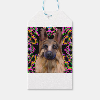 German Shepherd Mardi Gras Gift Tags