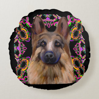 German Shepherd Mardi Gras Round Cushion