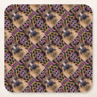 German Shepherd Mardi Gras Square Paper Coaster