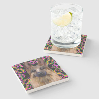 German Shepherd Mardi Gras Stone Coaster