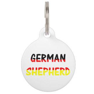 german shepherd name in flag pet tag