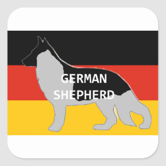 german shepherd name silhouette on flag black and square sticker