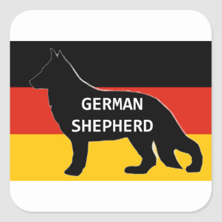 german shepherd name silhouette on flag black square sticker