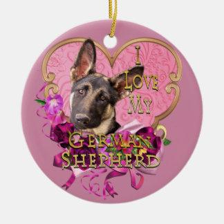 German Shepherd Pink Heart Love My Shep Ceramic Ornament