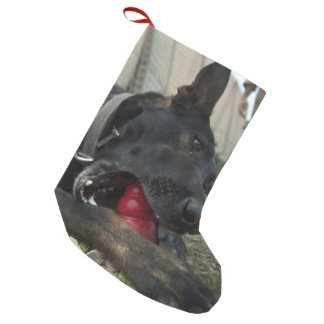 German Shepherd Playing With Dog Toy Small Christmas Stocking