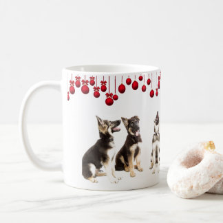 German Shepherd Puppies and Red Ornaments Coffee Mug