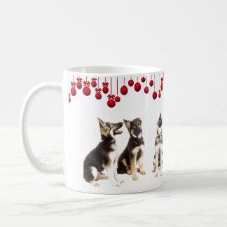 German Shepherd puppies and red ornaments Coffee Mug