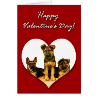 German Shepherd puppies Valentines Day Card
