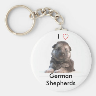 German Shepherd Puppy Basic Round Button Key Ring