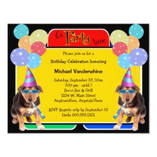 German Shepherd Puppy Birthday Barker 11 Cm X 14 Cm Invitation Card