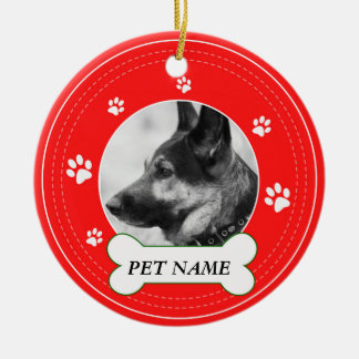 German Shepherd  Red Paws Print Ceramic Ornament