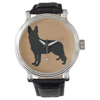 German Shepherd Silhouette Wristwatches