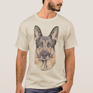 German Shepherd Sketched Dog Art T-Shirt