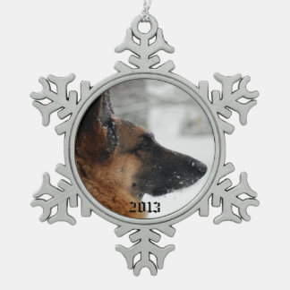 German Shepherd Snowflake Pewter Christmas Ornament