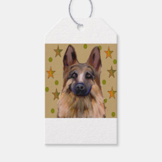 German Shepherd Soldier Art Gift Tags