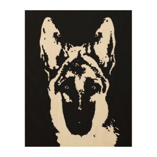 "German Shepherd Stencil Wood 11""x14"" Wall Art"
