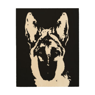 "German Shepherd Stencil Wood 8""x10"" Wall Art"