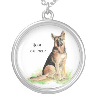 German Shepherd  to Customize, Personalize Silver Plated Necklace