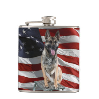 German shepherd usa - patriotic dog - usa flag hip flask