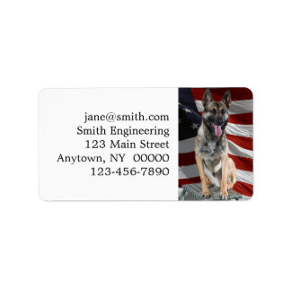 German shepherd usa - patriotic dog - usa flag label