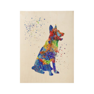 German Shepherd, watercolor German Shepherd Wood Poster