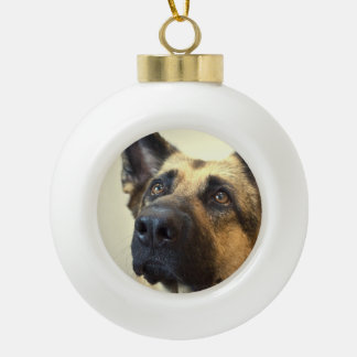 German Shepherds Ceramic Ball Christmas Ornament