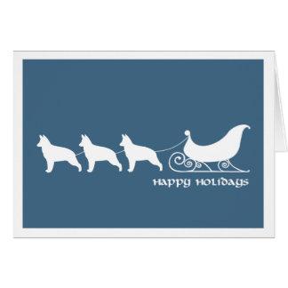 German Shepherds Pulling Santa's Sleigh Card