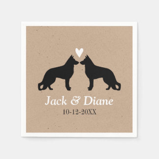 German Shepherds Wedding Couple with Custom Text Disposable Serviette