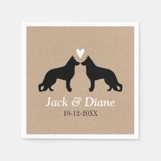 German Shepherds Wedding Couple with Custom Text Paper Napkins