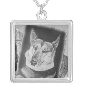 German Sheppherd Dog Square Pendant Necklace