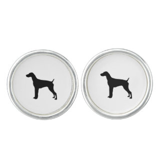 German Short-Haired Pointer Silhouette Love Dogs Cuff Links