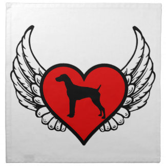 German Short-Haired Pointer Winged Heart Love Dogs Printed Napkins